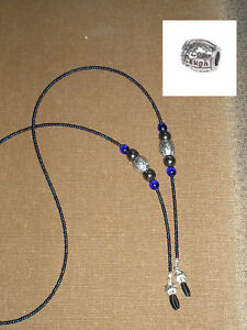 Eyeglass Holder Chain LIVE LOVE LAUGH Iridescent Blue Iris and hematite beads