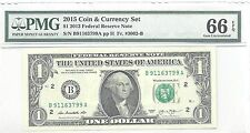 2015 Coin & Currency Set $1 2013 Federal Reserve Note 66 EPQ 911