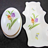 Rocard Limoges France porcelain Tray and Trinket box