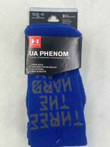 Under Armour Kids' SC30 Phenom Crew Socks 3 Pack (Royal Blue, 13.5K - 4Y)