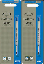 2 x Parker Quink Flow BallPoint Ball point Pen Refills BallPen Blue Fine New