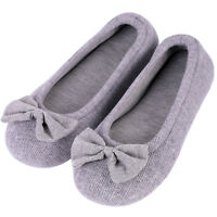 Women's Comfy Cotton Memory Foam Ballerina Slippers Terry Cloth House Shoes