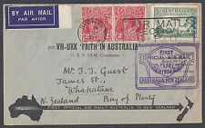 Australia 1934 First Official Flight Australia New Zealand Per Vh Uxx Faith In