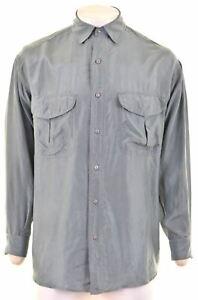 VINTAGE Mens Shirt Medium Blue Silk CL07