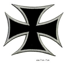 Biker IRON  Cross Iron On Sew On Embroidered Patch Badge