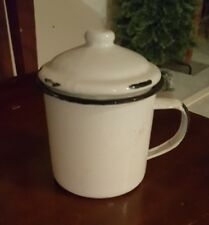 ANTIQUE SMALL WHITE GRANITEWARE CUP WITH LID
