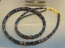 Äthiopischer schwarzer Opal Kette Collier facettiert 925 Silber / ca 45 Carat