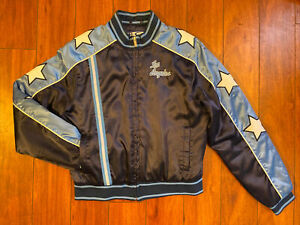 Vintage LA LAKERS NBA 4 Her Size Large Blue Satin Embroidered Bomber Jacket RARE