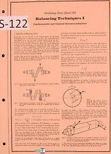 Schenck Balancing Machine Techniques I Workshop Data Sheet 145 Instruct Manual