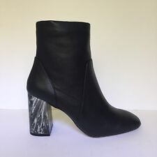 Dorothy Perkins Black Leather Look Marble Block Heel Ankle Boots UK 6 EU 39