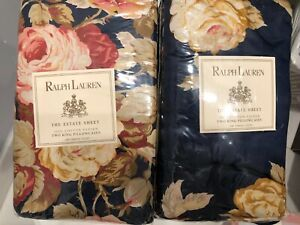 Ralph Lauren Winslow Floral Navy Two King Pillowcases Estate Sheet Floral NIP