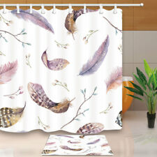 Watercolor Feathers Organic Design Bathroom Waterproof Fabric Shower Curtain 71