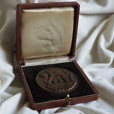 Antique 1925 Lion Hunt Nude Muscle Man Athletic Sport Medal Beran Sculpture Box