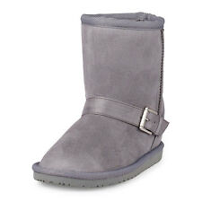 LN Childrens Place GIRLS BUCKLE CHALET BOOTS grey gray suede SHOES Girls 2 youth