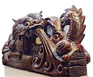 LARGE (30cm) Antique Chinese Dragon 3D Wood Sculpture Museum Quality