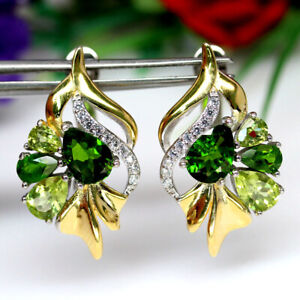 NATURAL GREEN PERIDOT CHROME DIOPSIDE & CZ EARRINGS 925 SILVER STERLING