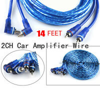 New 14 ft Twisted Interconnect RCA Audio Cable Car Amp Cables 2 Channel