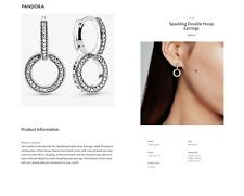 New! PANDORA Sparkling Double Hoop CZ Earrings  - 299052C01 - With Pouch & Post