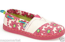 NIB Authentic TOMS Pink Daisy Bimini Slip-On Shoe in Bright Pink Youth Sz 3 $42