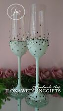 Swarovski Crystal Personalized Wedding Toast Champagne Glass Flutes White Bling