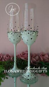 Swarovski Crystal Personalized Wedding Toast Champagne Glass Flutes White Bling