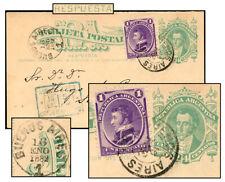 Argentina 4¢ Reply + 1¢ Provisional Psc Jan 1882 Gj2B