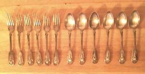 Antique 1800s Greek Set Of 6 Silver Spoons & 6 Silver Forks. Θεραπων Vintage.