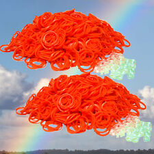 1200 RUBBER ORANGE COLOR BAND for Rainbow LOOM REFILL & 50 clips & Free SH