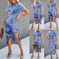 Womens Tie-dye Casual Side Slit Midi Dress Ladies Short Sleeve Tunic Loose Dress
