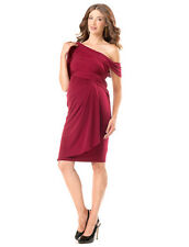 A PEA IN THE POD Collection One shoulder Drape Front MATERNITY DRESS size L $225