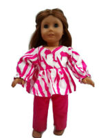 Flannel Pajamas 18 in Doll Clothes fits American Girl Dolls Hot Pink Zebra