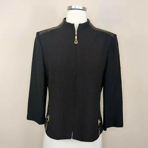 St. John Collection Brown Knit Zip Jacket Leather Trim + Gold Rings 8 Women's