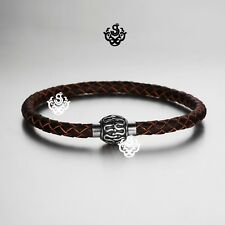 Silver rope chain brown chocolate hand weave leather bangle bracelet magnet 21cm
