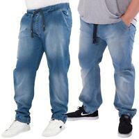 Kangol Mens Plus Size Jogger Jeans Stretch Elasticated Waist Blue Denim Trousers