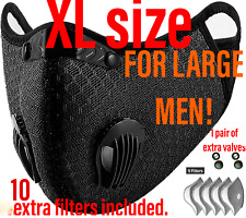 BIG MAN XXL face mask with double exhalation valves+10 filters,1 pair of valves