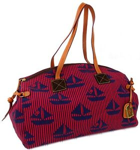 Dooney & Bourke Womens Medium Duffle Bag Blue Sailboats Travel NWOT