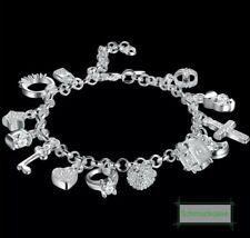Bettelarmband 925 Silber Pl. 13 Charms Anhänger Armband Schmuck Damen Neu