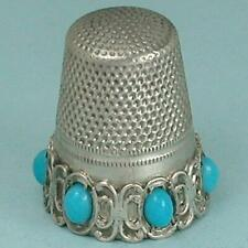 Vintage Silver Thimble w/ Turquoise Set Band * Germany * Circa 1920s