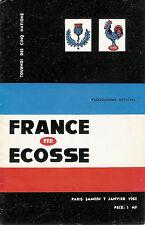 France/Ecosse 7 JAN 1961 RUGBY programme à Paris