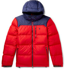 Polo Ralph Lauren Men's Quilted Shell Hooded Red Down Jacket Size Large