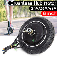 "Electric Scooter Hub Wheel Motor 24/36/48V DC Brushless Toothless 8"" Wheel 350W"