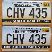 North Dakota 1992 CENTENNIAL License Plate PAIR - HIGH QUALITY # CHV 435