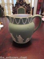 Antique 1800s Wedgwood, England, jug green jasperware, and handle, impressed[*6