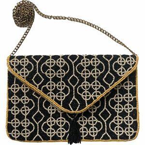 Glass Bead Cotton Organic Pattern Shoulder Bag Chain Crossbody Purse Yellow B&W