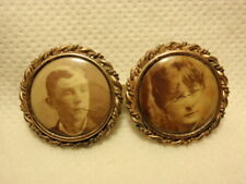 Photo Portrait Button Pin Brooch Antique Victorian Mourning Double Frame