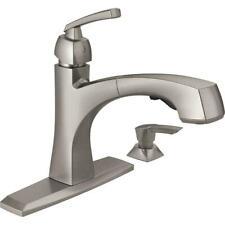 Delta Montauk Single Handle Pull-Out Kitchen Faucet w/ Soap Dispenser SpotShield