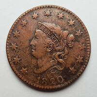1820 Coronet Head Large Cent N-12 R2+ XF+ Cleaned Corroded