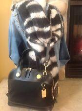 Dooney & Bourke  Black Cloth & Leather Dome Cabriolet Shoulder Bag
