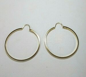 Genuine 9ct Yellow Gold Hoop Earrings  Large Size