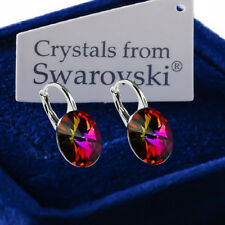 925 Sterling Silver Earrings *VOLCANO* Genuine 12mm Crystals from Swarovski®